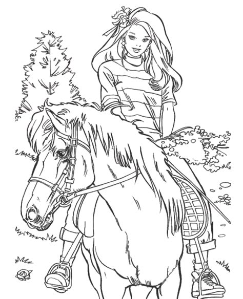 barbie soccer coloring pages barbie riding a horse coloring page