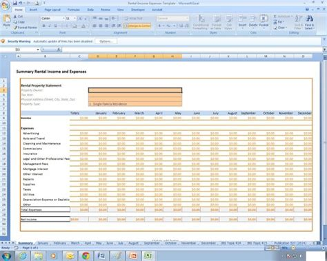 Rental Income And Expenses Excel Spreadsheet Template Rental Income And Expense Template
