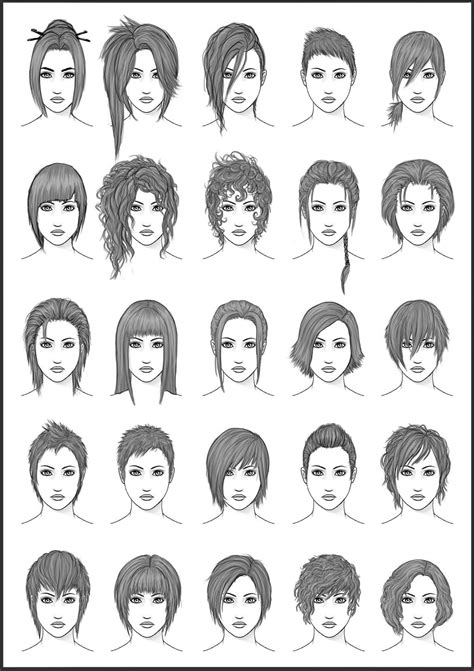 how to draw edgy hairstyles for boys women s hair set 4 by dark sheikah on deviantart