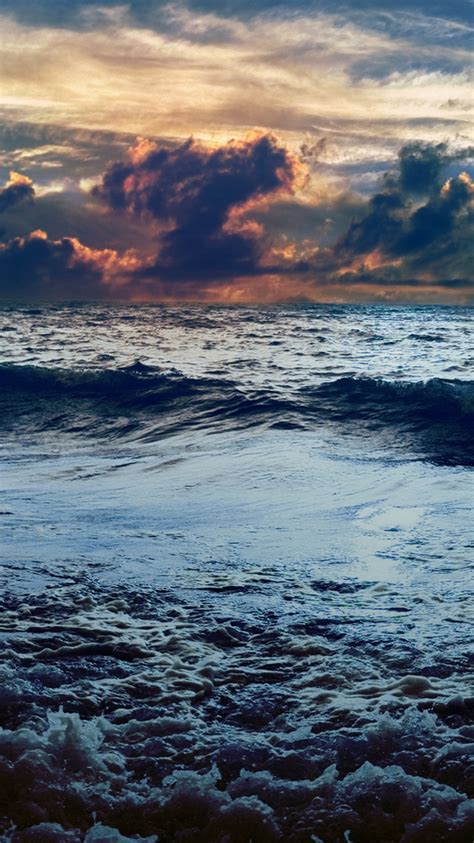 dark stormy sea sunset iphone  wallpaper hd