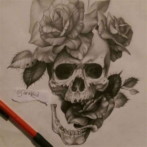 badass tattoos drawings badass skull and roses design pencil in vellum