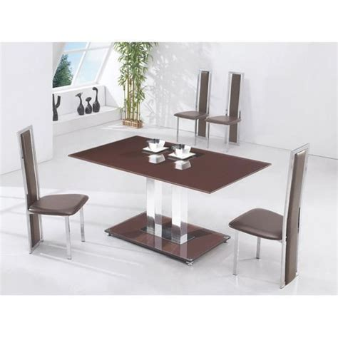 chocolate brown glass dining table and 6 chairs set ebay