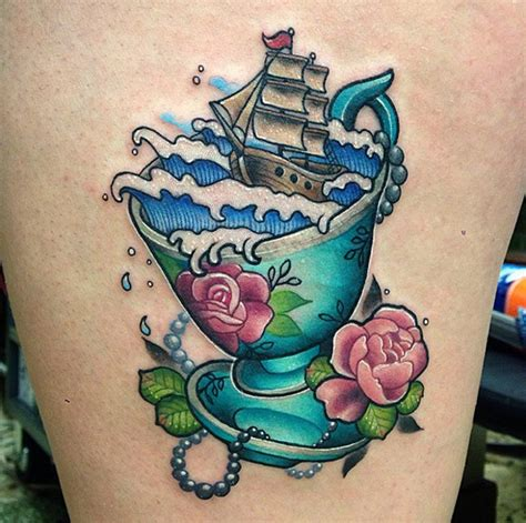 tea cup tattoo in a teacup best design ideas