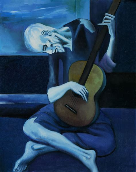picasso guitar painting the guitarist by pablo picasso osa298