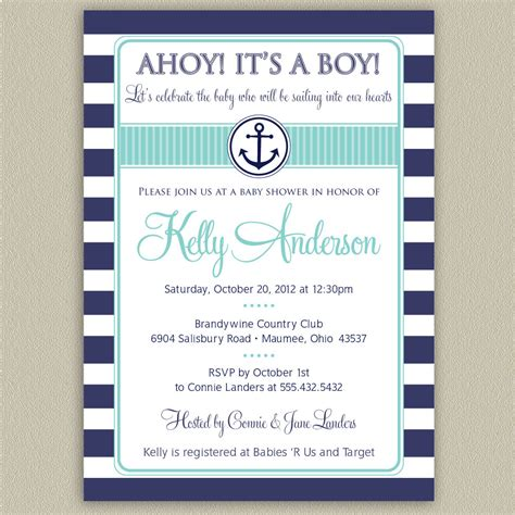 ahoy it s a boy nautical striped baby shower invitation