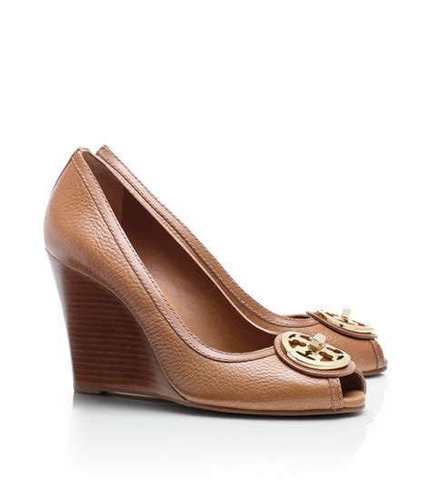lyst burch selma open toe wedge in brown