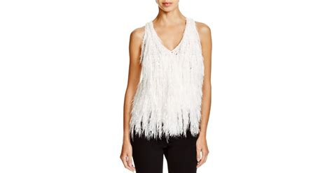 White Fringed Top lyst dkny delicate fringe top in white