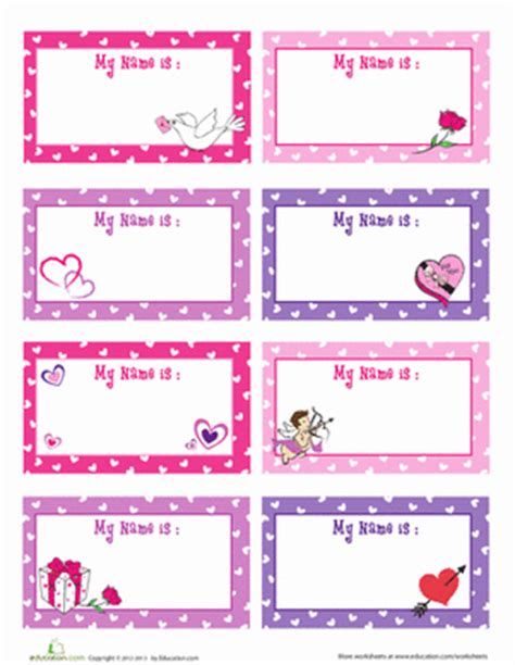 english worksheets name tags girls valentine s day name tag worksheet education com