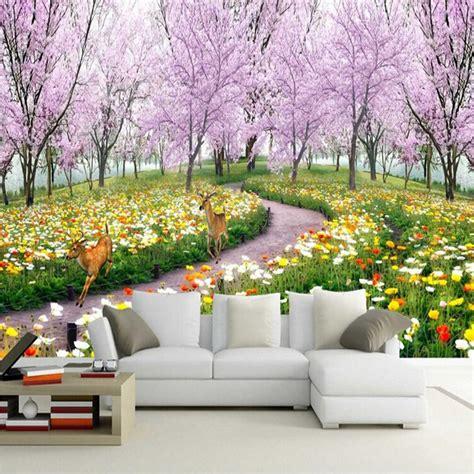 wallpaper bunga persik online buy grosir indah landscape wallpaper from china