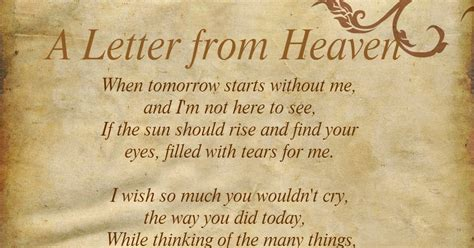printable version of when tomorrow starts without me daveswordsofwisdom com a letter from heaven