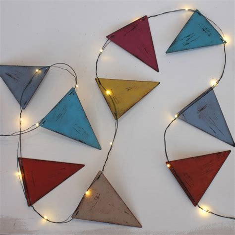 Handmade Metal Bunting String Lights By All Things Metal String Lights