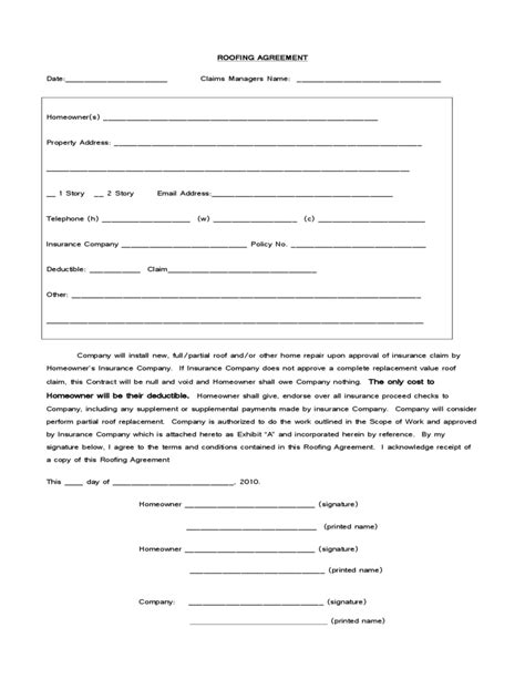 roofing contract template roofing contract template 2 free templates in pdf word