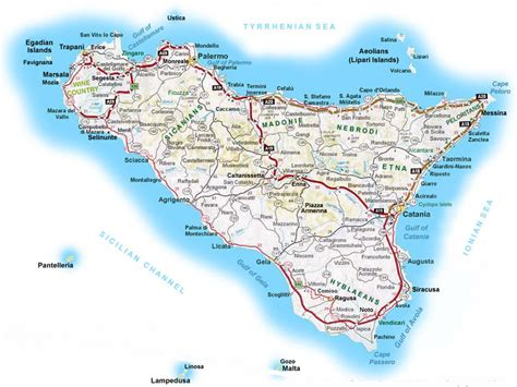 printable road map of italy in english carte de la sicile d 233 taill 233 e sicile en image