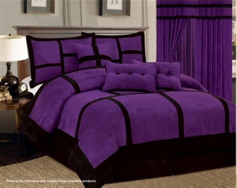 7 pc purple black comforter set micro suede california