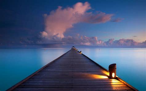 sunrise walkway clouds sea nature landscape maldives