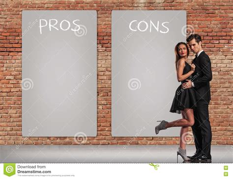 pros and cons of standing pros and cons in a relationship stock photo image 77528206