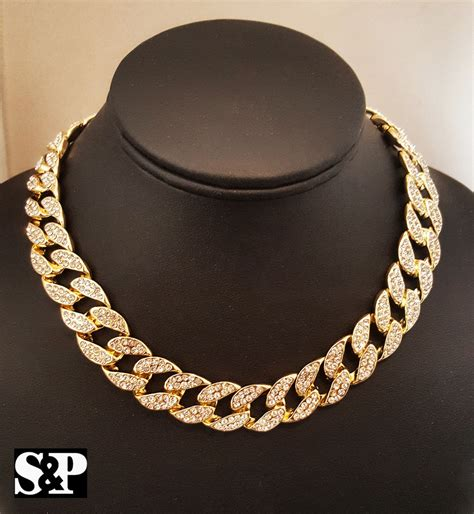 choke chain hip hop quavo gold pt iced out 15mm 16 quot miami cuban choker chain necklace ebay