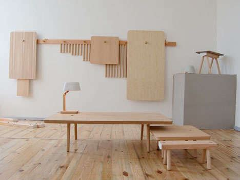 wall mounted furniture wood peg collection