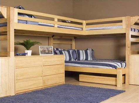 Bunk Beds With Two Desks Bunk Beds With Desks With L Shape Ideas Home Interior Exterior
