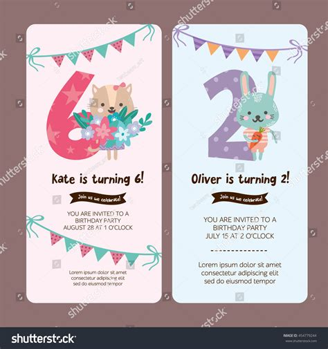 birthday invitation greeting card templates set greeting card design cat stock vector 454779244