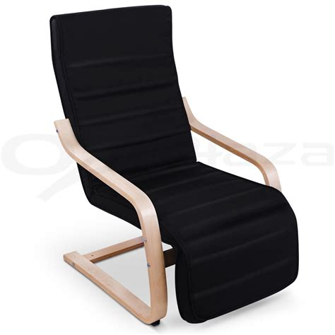 Wood Arm Recliner Chair by Bentwood Arm Chair Adjustable Wooden Recliner Lounge Fabric Cushion Black