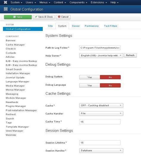 joomla tutorial point joomla system settings