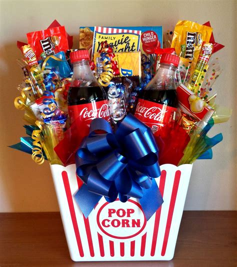 birthday themed raffle basket homemade gift ideas movie night bouquet with drinks