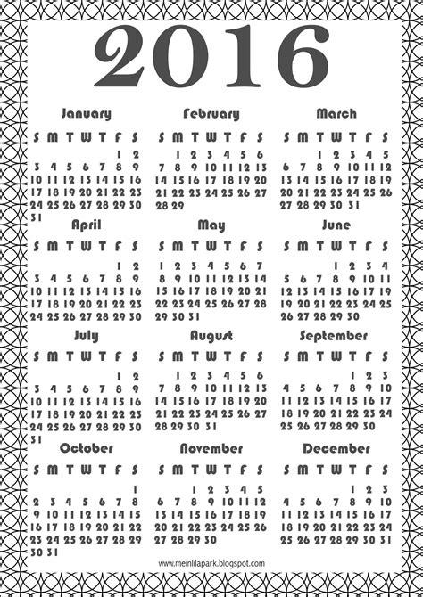 printable calendar 2016 black and white free printable 2016 coloring calendar ausrdruckbarer