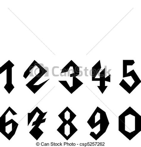 Custom Home Plans And Pricing vector illustration of set of gothic style numbers