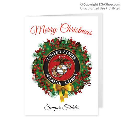 christmas cards usmc seal wreath pkg of 12