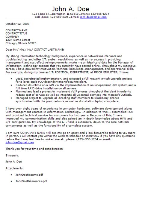 technology cover letter information technology cover letter