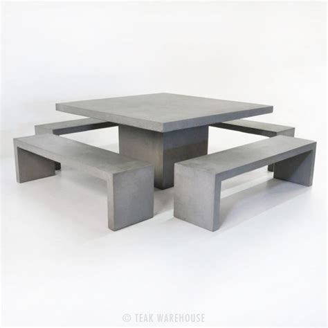 outdoor bench and table set square concrete table and 4 bench outdoor dining set
