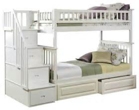 White Bunk Bed With Storage White Solid Wood Bunk Bed With Storage Modern Bunk Beds Other Metro By Adarn
