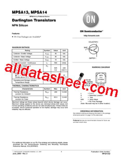 transistor mpsa13 datasheet mpsa13 datasheet pdf on semiconductor