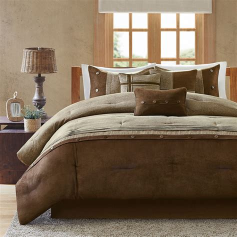 tan bedding set beautiful modern 7pc soft brown tan beige cozy cabin