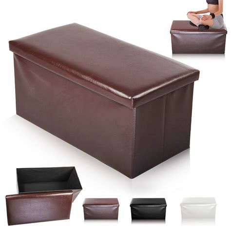 box ottoman new large folding storage seat stool box ottoman faux