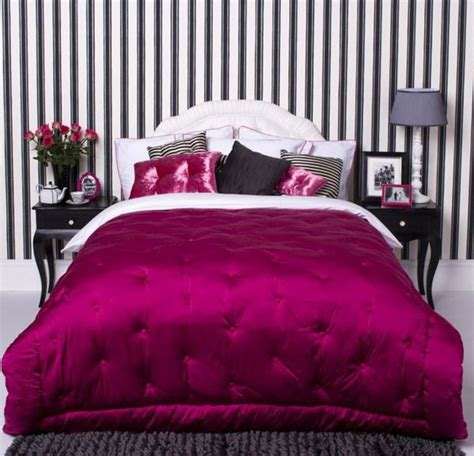 lavish magenta colored comforter for master bedroom inspiration ideas with striped black