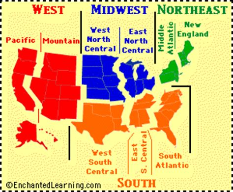 printable us map by regions usa regional map quiz printouts enchantedlearning com