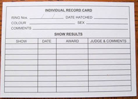 record card template record keeping