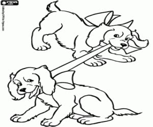 Two Dogs Playing With A Ribbon Coloring Page Printable Game Coloring Pages Puppy And Ribbon