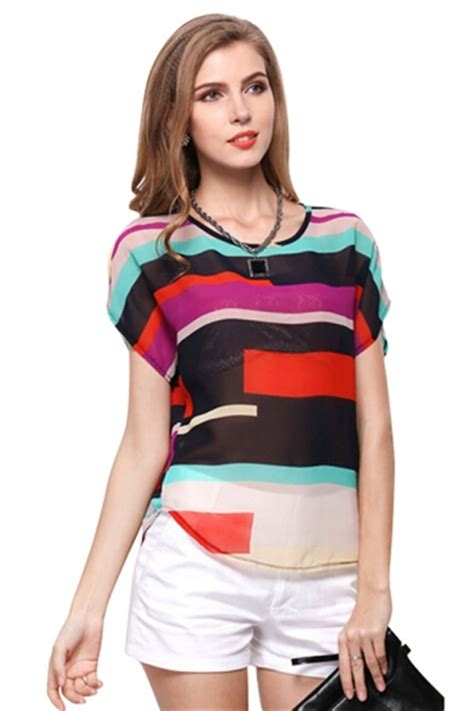 Blouse Import 26904 Black Stripe Casual Top Womens Casual Sheer Color Block Striped Blouse Black