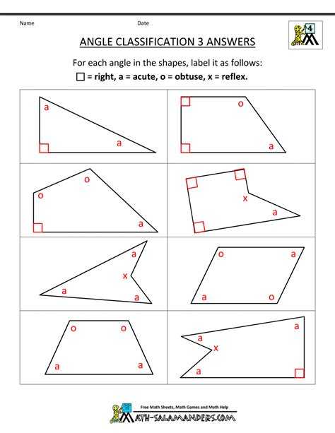 Angles Worksheet by 4th Grade Geometry