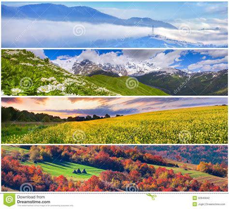 4 seasons landscape set of the 4 seasons landscape stock photography