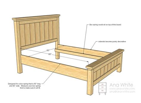 farmhouse bed queen sized bed frame plans diy bed