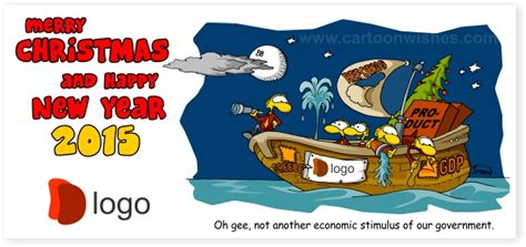 management boat cartoon clever and cool funny new year cards firm greetings
