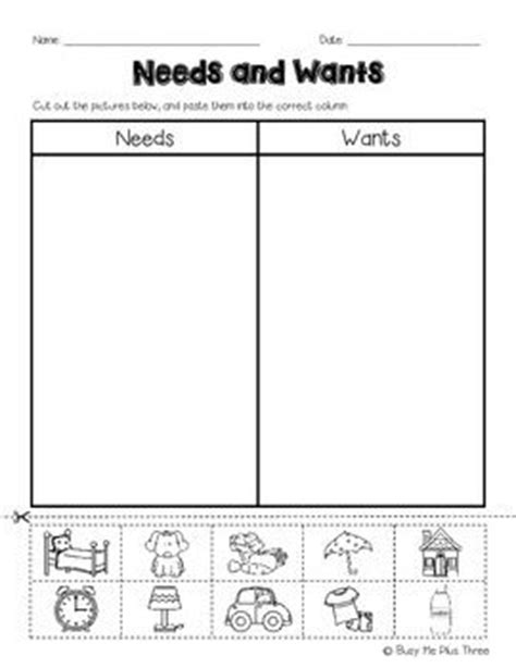 kindergarten activities needs and wants this is a great cut and paste worksheet for needs and