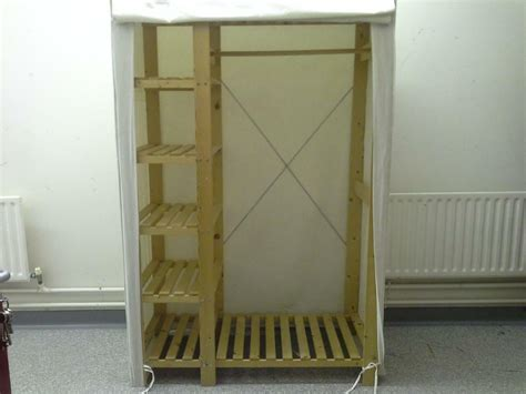 Green Canvas Wardrobe - ikea style canvas fabric and wood large wardrobe storage