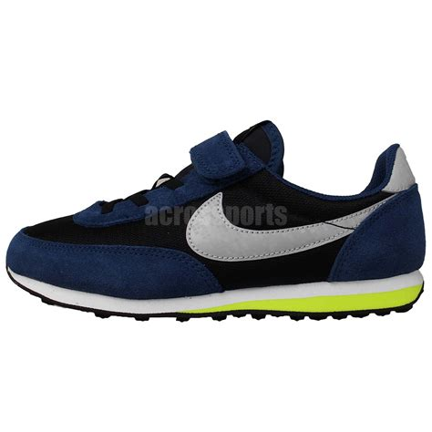 boys athletic shoes with velcro nike elite ps black blue volt prescool velcro boys running