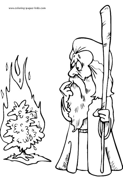 moses with burning bush color page bible story color
