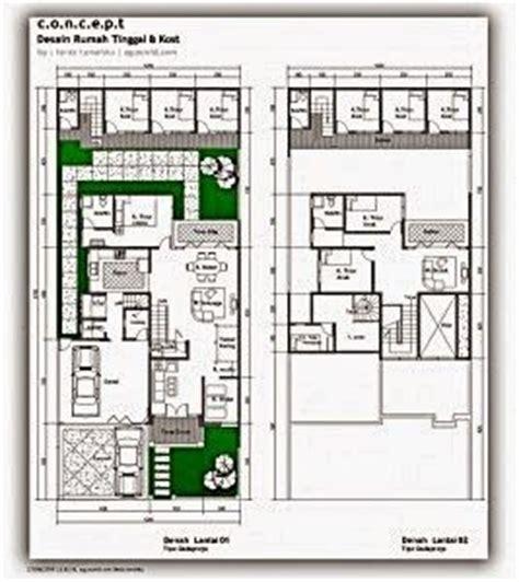 contoh terbaru jasa denah desain rumah minimalis idaman 1 2 lantai 3 kamar dengan kolam